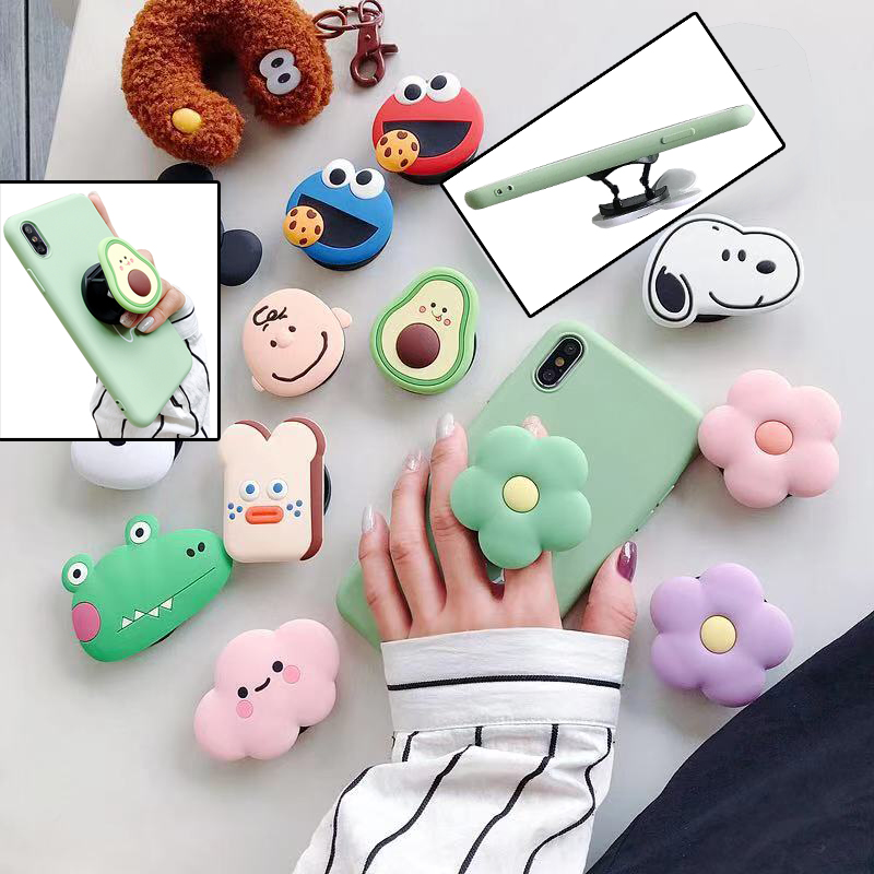 Cartoon air bag phone Holder stretch bracket cute finger Stand grip Strap mobile Expanding anime Universal cellphone Ring Stand
