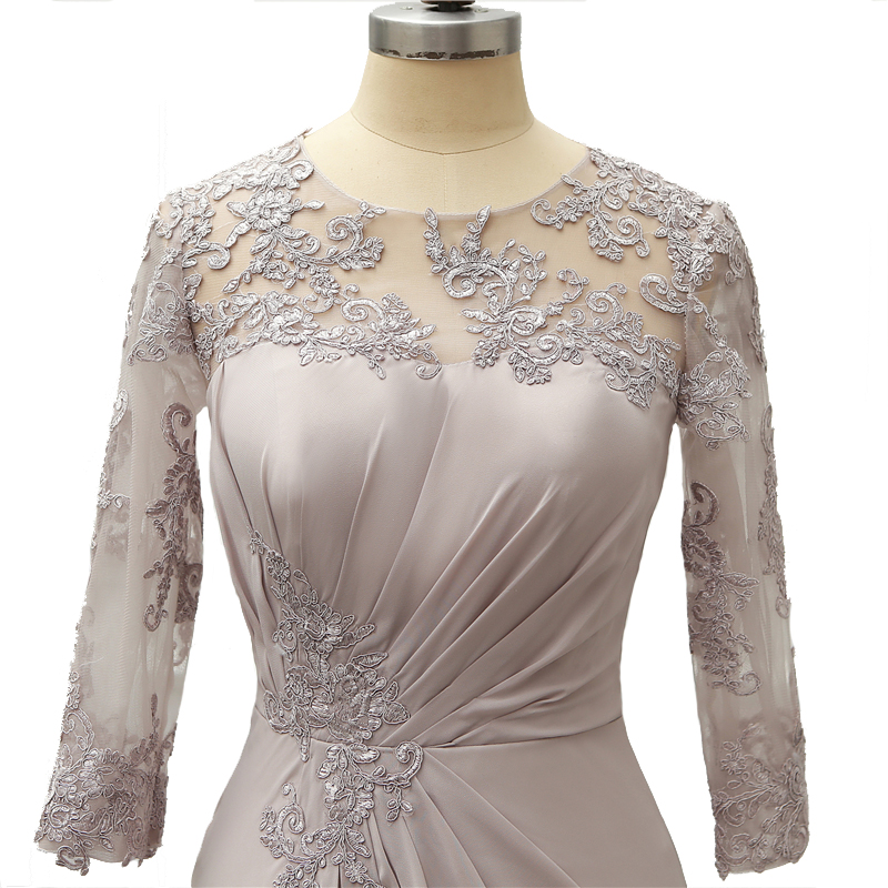 3/4 Long Sleeves Mother Of The Bride Groom Dresses Plus Size Appliques 2019 Silver Lace Mother Dress Formal Party Gown Customize