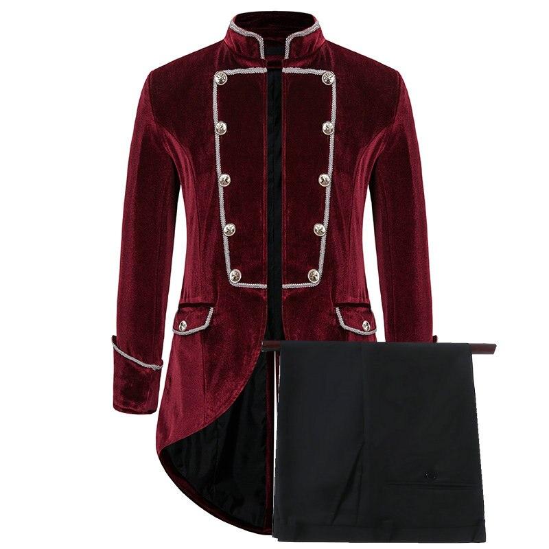 2021 Latest Designs Burgundy Velvet Smoking  Jackets Stand Collar Formal Tuxedos Tailcoat Dinner Party Prom Suit Best Man Blazer