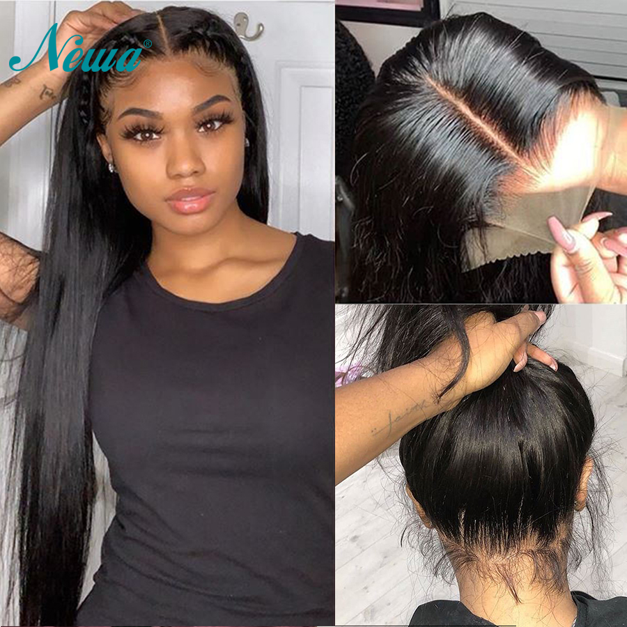 Newa Hair 13x6 Lace Front Human Hair Wigs Pre Plucked With Baby Hair Straight Lace Front Wig Glueless Brazilian Remy Hair Wig