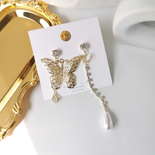 Korean Asymmetric Shiny Crystal Pearl Butterfly Earrings 2020 Gold Color Metal Hollow Insect Long Tassel Party Jewelry