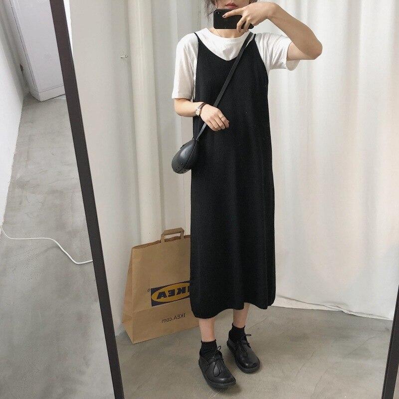 Spring Gentle Underwear Base Jersey Dress Front And Back V-neck Elegant Versatile Comfortable Knitted Sleeveless Strapped Dress