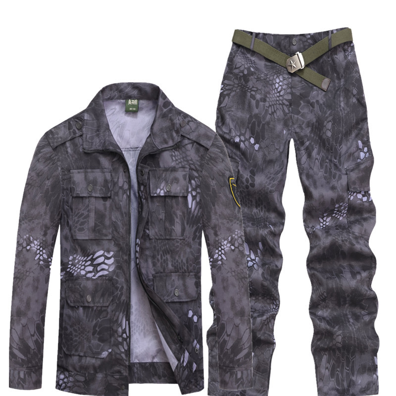Men Military Python Pattern Camouflage Suit Black Green Python Pattern Uniform Army Combat Camouflage Clothing Training Suit