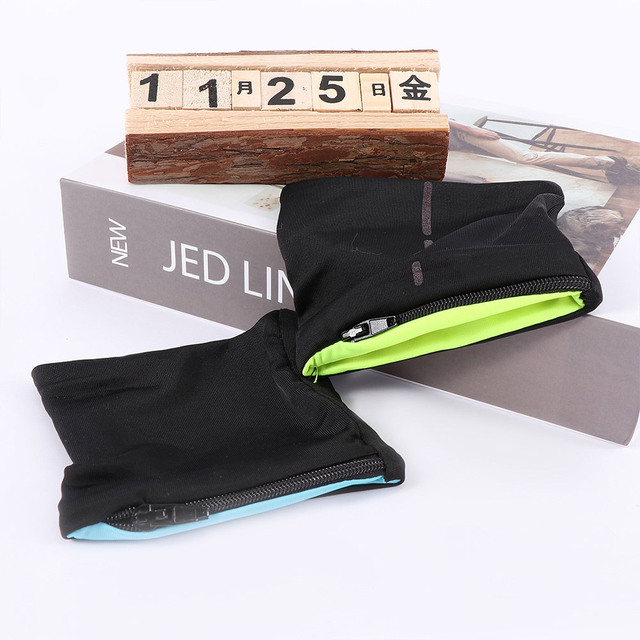 Unisex Wrist Wallet Pouch Band Fleece Zipper Gym Cycling Sport Hiking Travel Safe Wristbands Protection Ankle Wrap Strap Outdoor