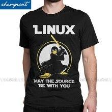 Linux pode a fonte estar com você camiseta homem pinguim programador programador programação codificação nerd vintage t tripulação pescoço t camisas