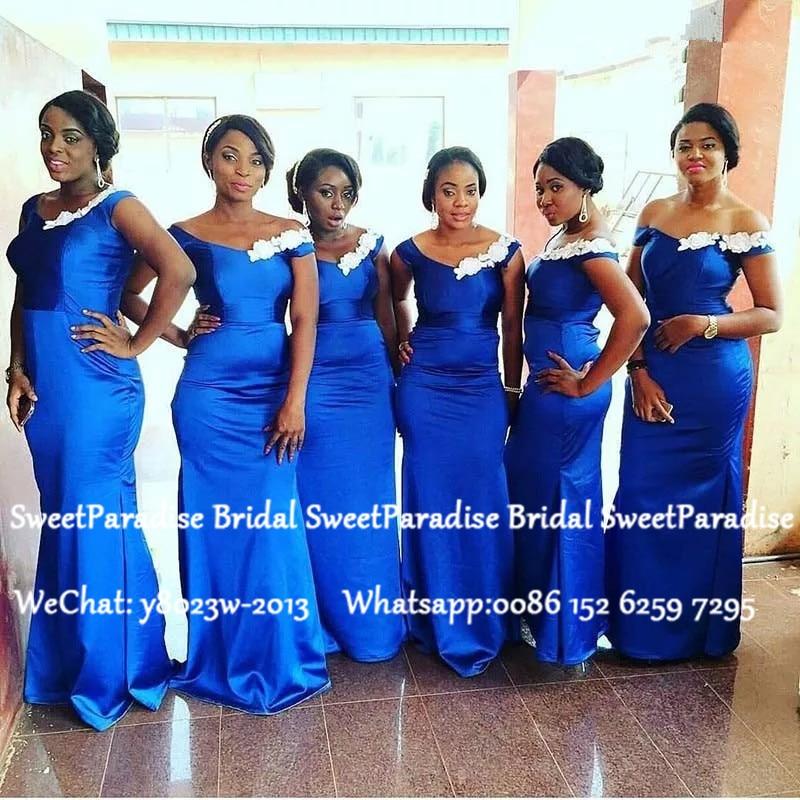 Royal Blue Mermaid Bridesmaid Dresses With White Appliques Off Shoulder Long Wedding Guest Dress Party Robe Demoiselle D'honneur