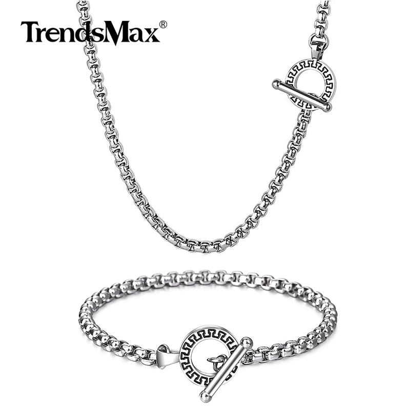 Trendsmax <font><b>Jewelry</b></font> <font><b>Sets</b></font> Necklace Bracelet Silver Color Box Link Stainless Steel Chain <font><b>For</b></font> Mens Party <font><b>Jewelry</b></font> Gift <font><b>2019</b></font> image