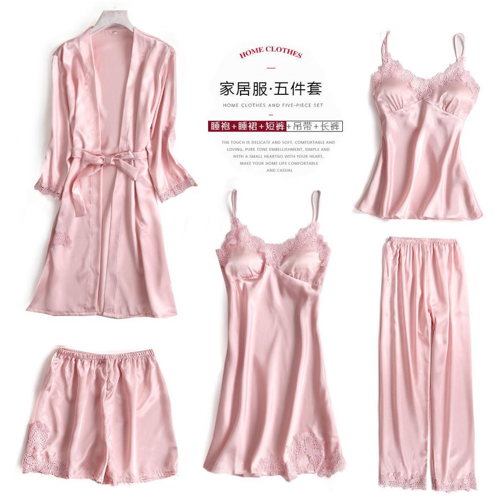 Women Pajamas 5 Pieces Satin Pajamas Sets Sleepwear Silk Home Wear Embroidery Sleep Lounge Lace Pyjama With Chest Pads