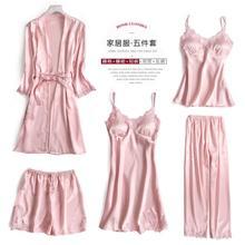 Women Pajamas 5 Pieces Satin Pajamas Sets Sleepwear Silk Home Wear Embroidery Sleep