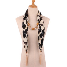 цена на jewelry necklace scarf fringed bead chain necklace Great leopard pattern snake skin print exaggerated Necklace pendant scarf