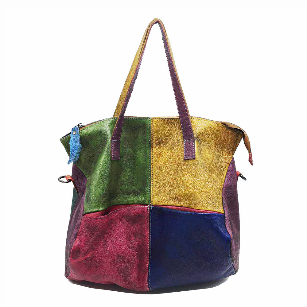 Retro Genuine Leather Women Bag 2020 New Random Color Stitching Handbag Large Capacity Soft Cowhide Shoulder Bags