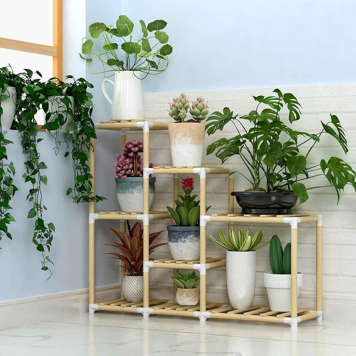 Flower Pot Rack Wooden Potted Plant Rack Storage Shelf Fashionable Flower Plants Stand Indoor Decor Plant Pot Holder