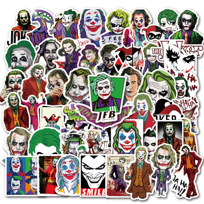 50PCS Mixed The Joker Cartoon Stickers For Skateboard Fridge Phone Guitar Motorcycle Luggage PVC Waterproof Joke Toy Stickers
