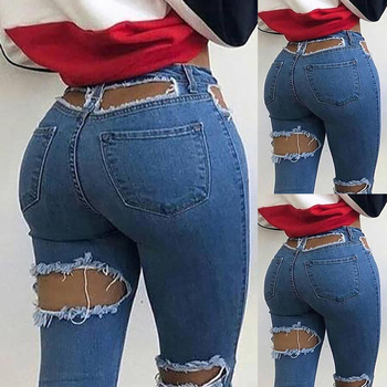 Sexy Women Ripped Jeans Vintage Fashion Casual Distressed Hollow Out Skinny Pencil Jeans Denim Long Pants Trousers Streetwear fashion embroidered flares jeans with embroidery ripped jeans for women jeans with lace sexy skinny jeans pencil pants pp42 z30