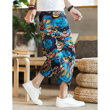 Sinicism Store мужские хлопковые льняные брюки, мужские летние повседневные брюки длиной до щиколотки, мужские Мешковатые Свободные брюки с рисунком