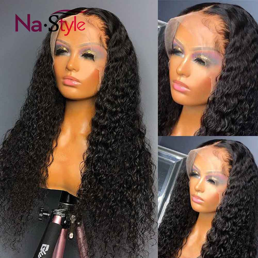 Curly Human Hair Wig 360 Lace Frontal Wig HD Transparent Lace Wig Glueless Lace Front Human Hair Wigs Pre Plucked Bleached Knots