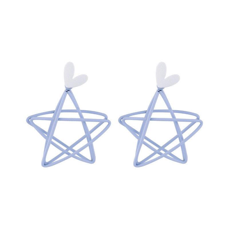 Sweety Star Korean Earrings Hollow Out Star серьги 2020 тренд Metal Blue Women Dangler Earrings Statement Drop Earrings Eardrop