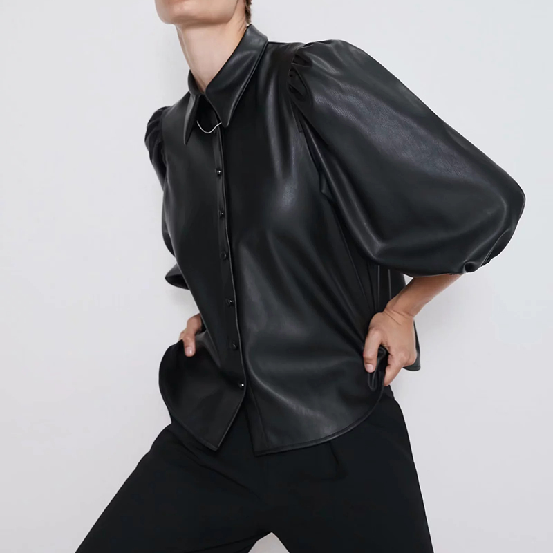 New Design Za PU Faux Leather Womens Blouses Shirts Puff Sleeve Autumn Womens Tops And Blouses Streetwear Korean Camisa Blusas