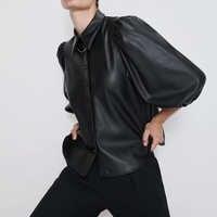 Nouveau design za PU faux cuir femmes Blouses chemises manches bouffantes automne femmes hauts et chemisiers streetwear coréen Camisa Blusas