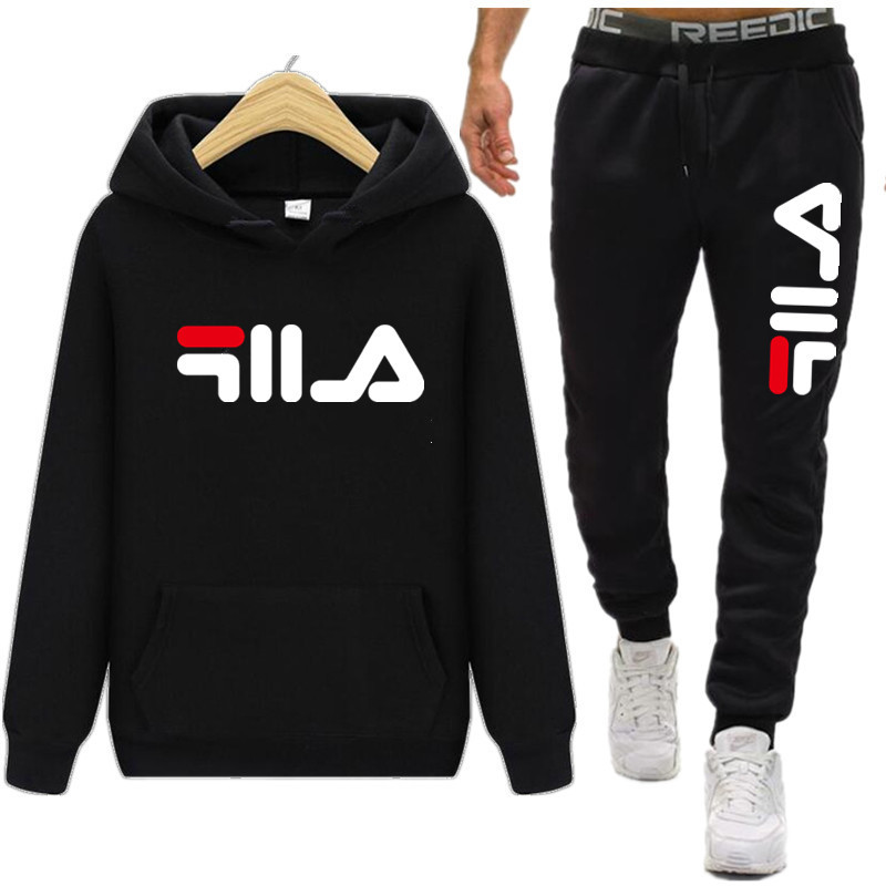 2019 Fashion New Arrival Sporting Suit Men Spring Autumn Casual Hoodies+Pants Two Piece Sets Solid Color Printing Tracksuit
