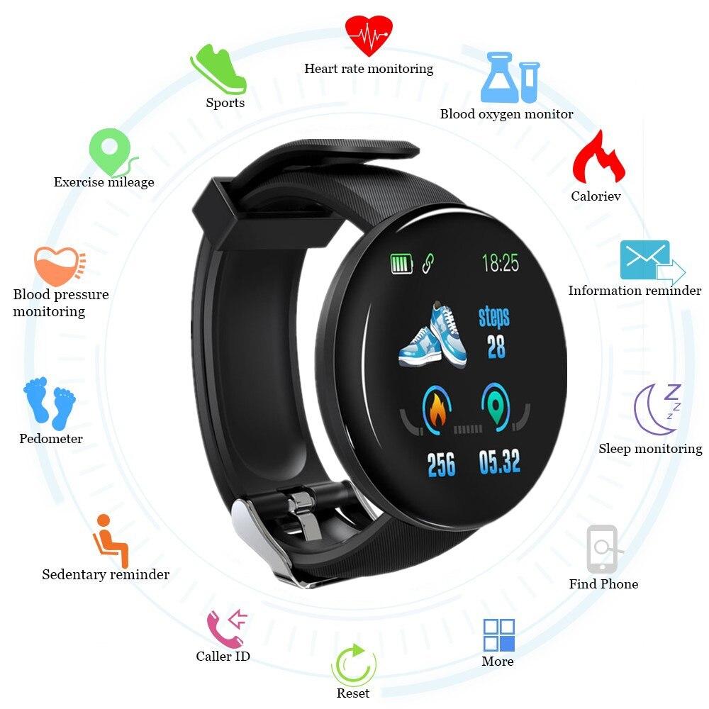 2019 bluetooth relógio inteligente dos homens pressão arterial redonda smartwatch relógio feminino à prova dwaterproof água esporte rastreador whatsapp para android ios