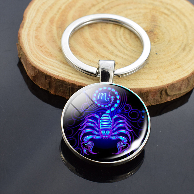 12 Zodiac Sign Keychain Sphere Ball Crystal Key Rings Scorpio Leo Aries Constellation Birthday Gift for Women and Mens 2