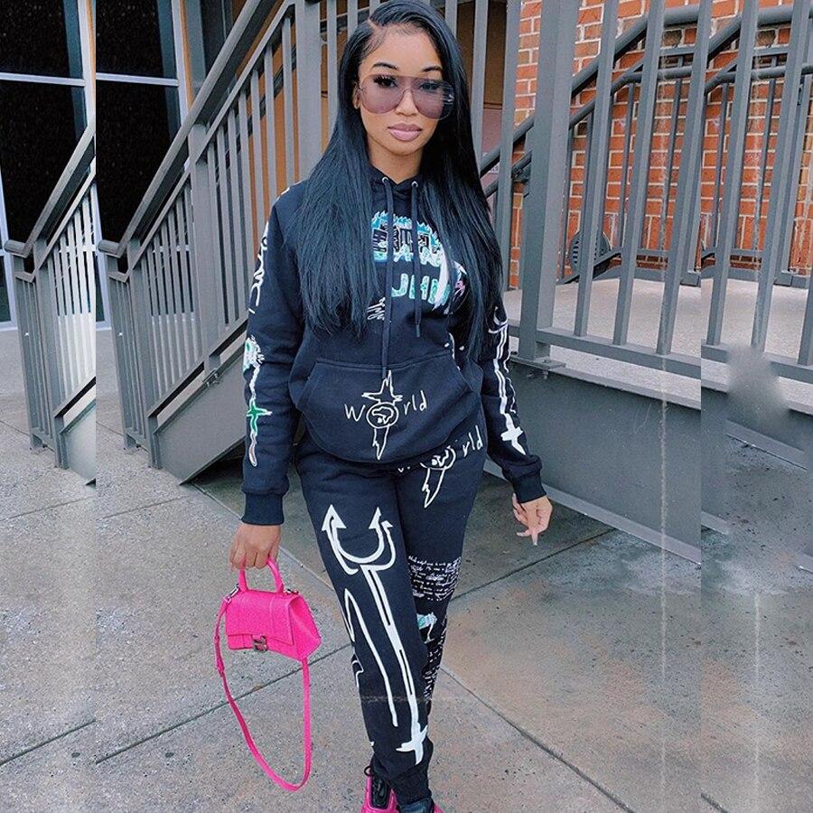 Conjunto de dos piezas de ropa de calle de Graffiti para mujer, chándal de mujer, sudaderas con capucha rosa, pantalones, traje a juego, chándal y mallas