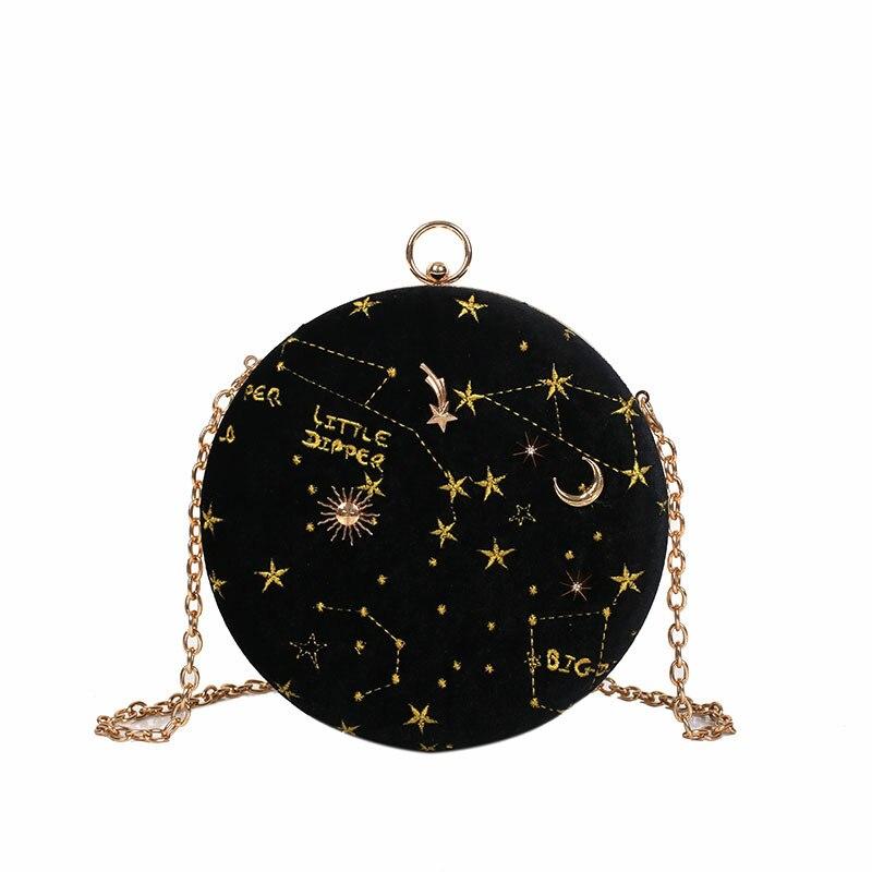 Ladies Clutches Starry Purse Chain Crossbody-Bags Evening Fashion Women Feminina Circular