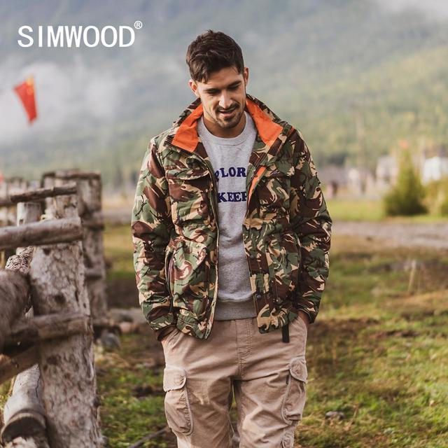 SIMWOOD 2020 Winter New Parkas men hooded multi pockets cargo coats Camouflage fashion warm fleece plus size jackets SI980715