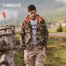 SIMWOOD 2020 zima nowe parki mężczyźni z kapturem wiele kieszeni cargo płaszcze kamuflaż moda ciepły polar kurtki w dużych rozmiarach SI980715