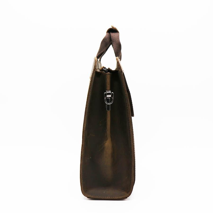 GO LUCK, натуральная кожа Crazy Horse, с верхней ручкой, 14 дюймов, деловой портфель, сумка, мужская сумка через плечо, мужские сумки мессенджеры - 5