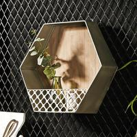 Wall mounted Iron Shelf Polygonal Floating Shelf Wall Storage Iron Art Bedroom Wall Hanging Decoration Creative Wrought Iron She