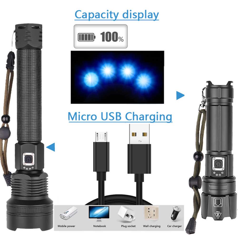 ที่มีประสิทธิภาพ XHP90 XHP70.2 ไฟฉาย LED ระยะไกลจอแสดงผลไฟฉาย USB Zoomable 3 โหมด 26650 USB แบตเตอรี่ขนาดใหญ่