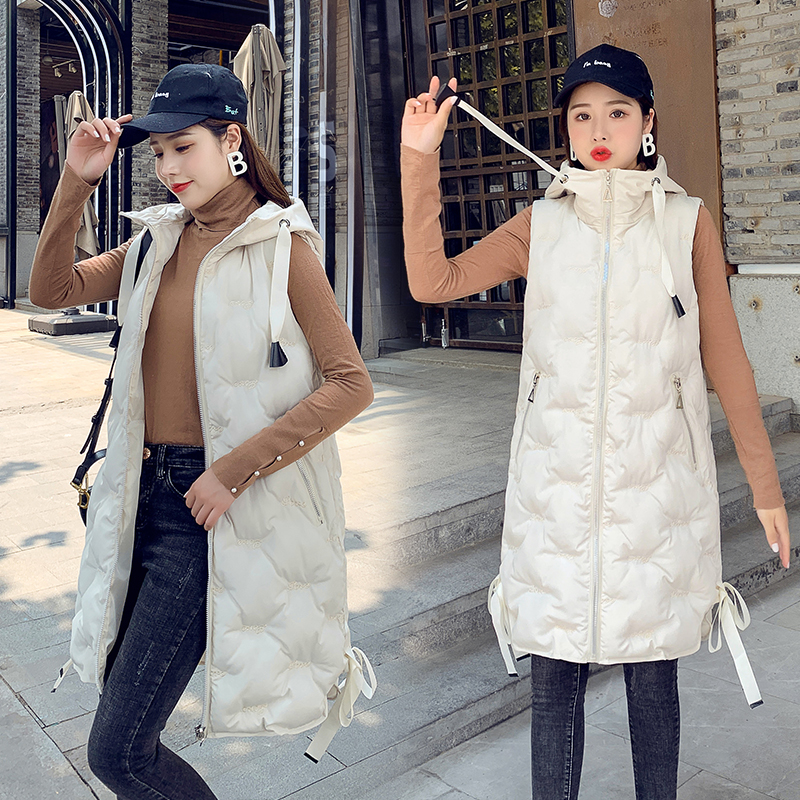 Diwish Vests for Women Winter Sleeveless Jacket Solid Warm Hooded Zipper Female Bow Comfortable Long Fashion Coat New Arrival