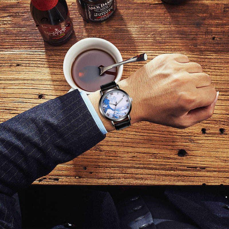 クレイジー波メンズ腕時計上品ユニークな創造的な宇宙の時計カジュアルクォーツレザーストラップアナログギフト Wirst 腕時計モンタフェム