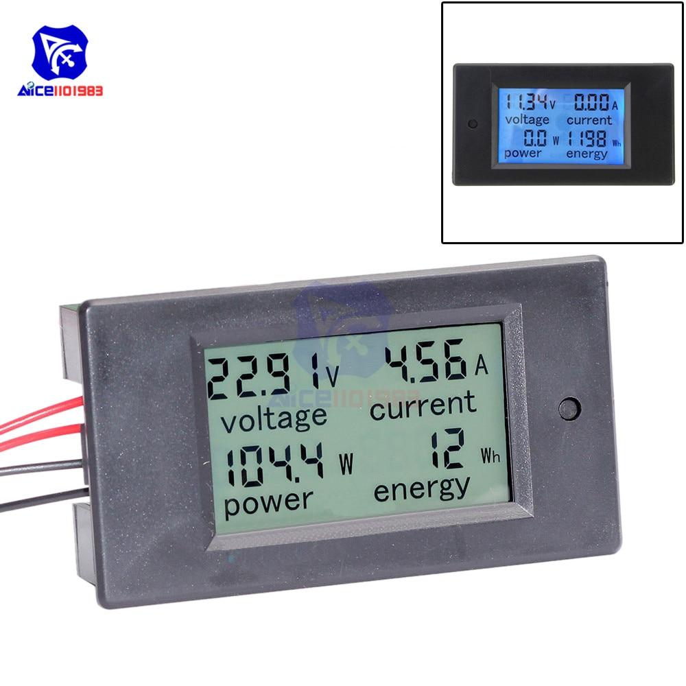 Diymore 4 In 1 LCD Panel Digital Backlight Voltage Watt Current Power Meter Ammeter Voltmeter 20A DC 6.5 -100V