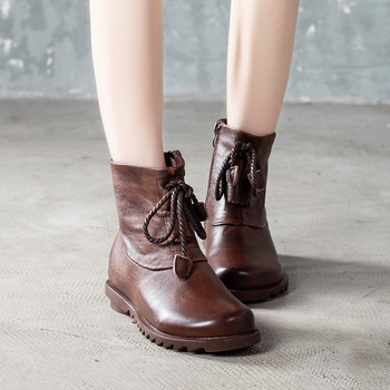 2019 Manual Genuine Leather Side Boots Leisure Time Comfortable Head Cowhide Short Boots Woman