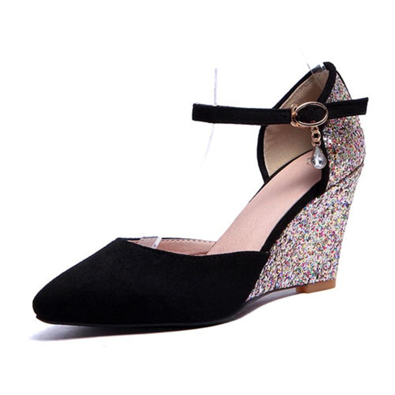 ENMAYER  2015Newest Gladiator Women Pumps Fashion Ankle Straps High Heels Wedge Shoes Womens Wedding Design Platform