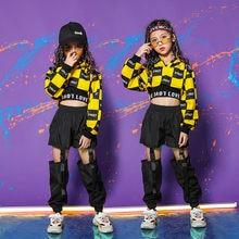 Traje de dança jazz hip hop, traje de manga longa para crianças e meninas, preto, amarelo, hip hop