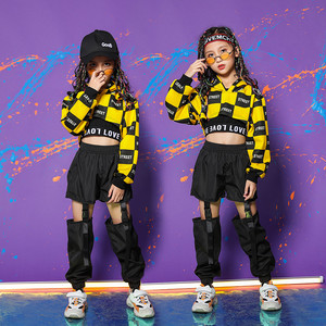 Children Girl long Sleeve Black Yellow Hip Hop Hiphop Ds Jazz Dance Costumes Ballroom Clothes Outfit Girl Clothes