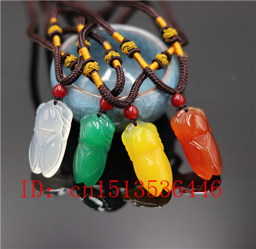 Natural Agate Cicada Pendant Beads Necklace Charm Jewellery Fashion Accessories Hand-Carved Man Woman Luck Amulet Gifts