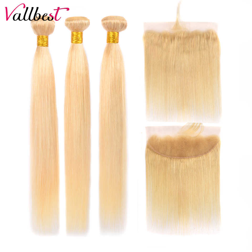 Vallbest 613 Bundles With Frontal Brazilian Straight Hair 3 Bundles With Lace Closure Remy Blonde Bundles With Frontal Closure