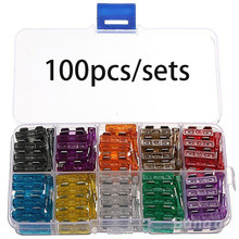 100pcs/set Mini Blade Fuses Auto Car Truck Fuse Assortment Kit Set 2A 3A 5A 10A 15A 20A 25A 30A 35AMP