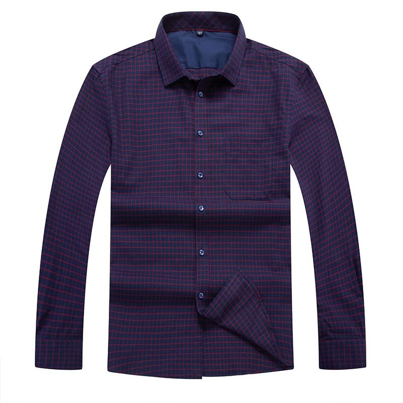 Plus Size 10XL 8XL 6XL 5X New Arrival  Business Shirt Mens Brand Long Sleeve Plaid Twill Men Dress Shirts Male Shirts Cotton