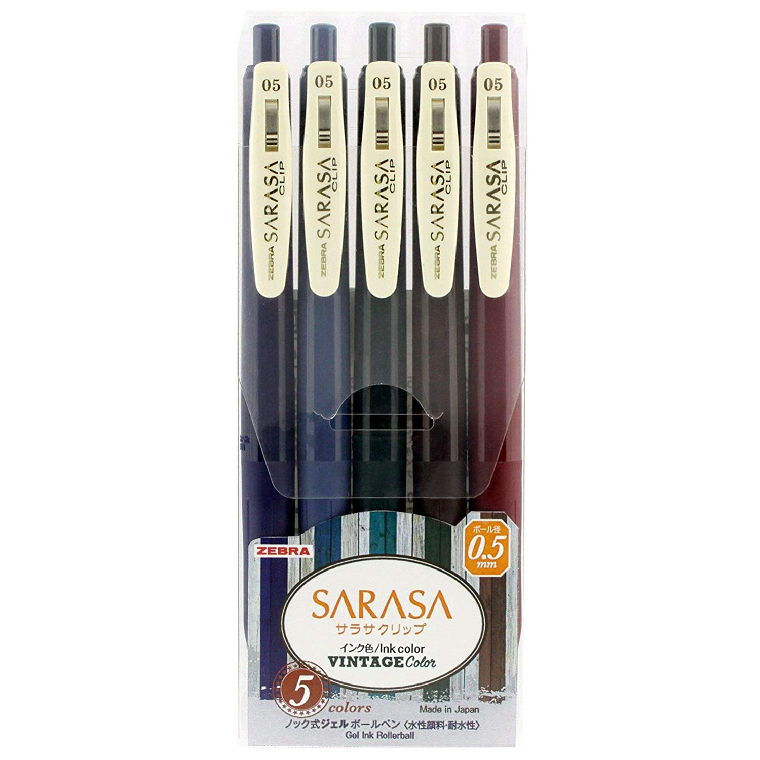 Zebra Sarasa Clip 0.5 Retractable Gel Ink Pen Rubber Grip 0.5 Mm Vintage Colors 5 Color Set