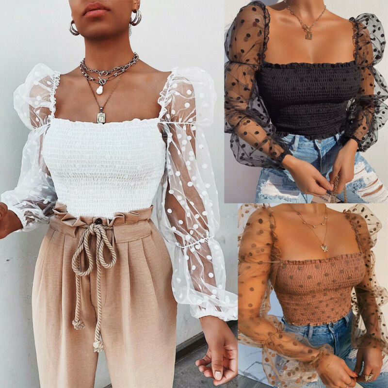 Women Hollow Sheer Mesh See Through Sexxy Puff Sleeve Elastic Blouse Ladies Female Lace Square Neck Polka Dot Tops Shirts Summer