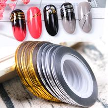 0 5mm Gold Silber Striping-klebeband-linie Aufkleber für Nägel Lagerung Container Maniküre Adhesive Nail art Dekorationen Werkzeuge GL1009 cheap Full Beauty Eine Einheit CN (Herkunft) 0 5mm x 2000mm Sticker Aufkleber Plastic Paper 1 or 2 Roll Gradient Shell Marble Design