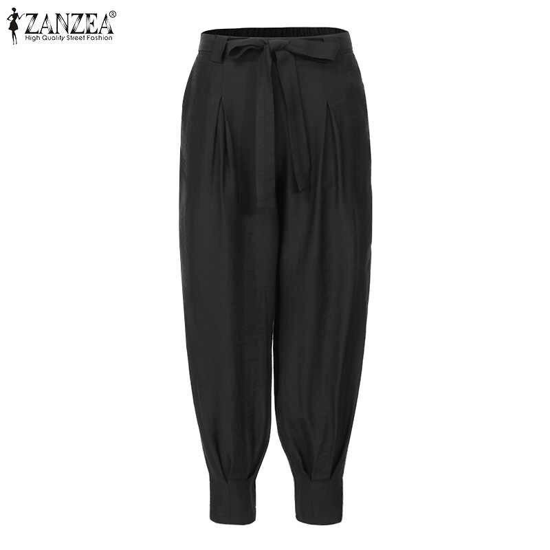 Zanzea Women Casual Terug Elastische Taille Broek Dames Lange Broek Vrouwelijke Lage Taille Sexy Cargo Zakken Belted Harem Streetwear