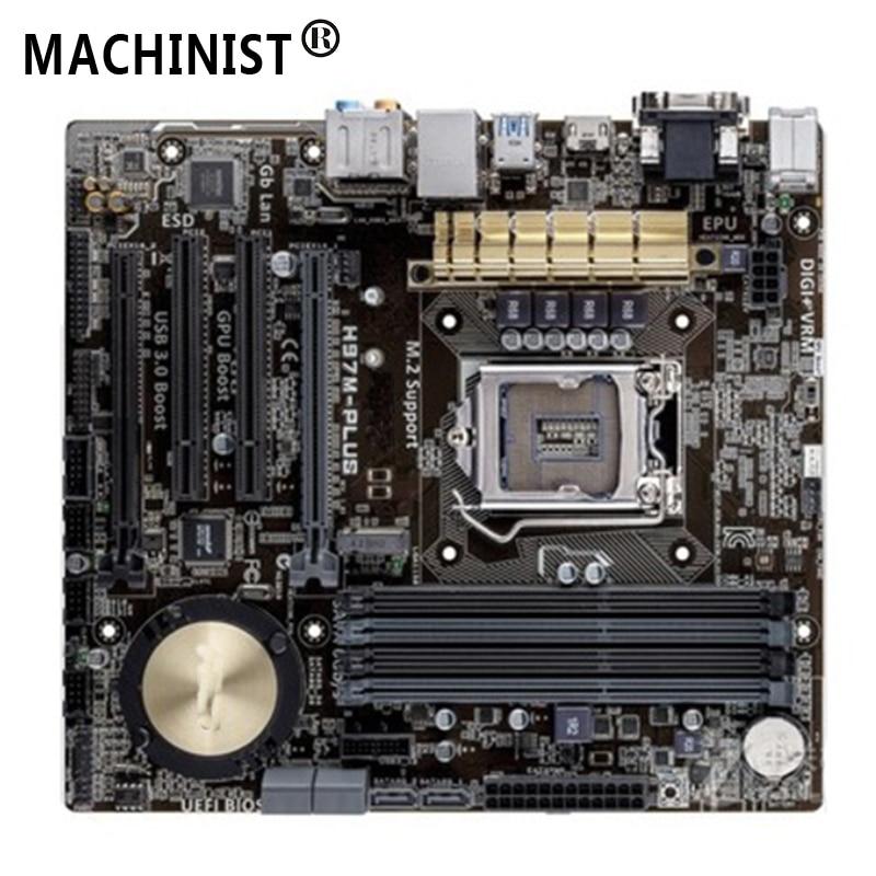 Original For ASUS H97M-PLUS Desktop motherboard MB H97 LGA 1150 micro ATX DDR3 32GB SATA3.0 USB3.0 fully Tested Free shipping