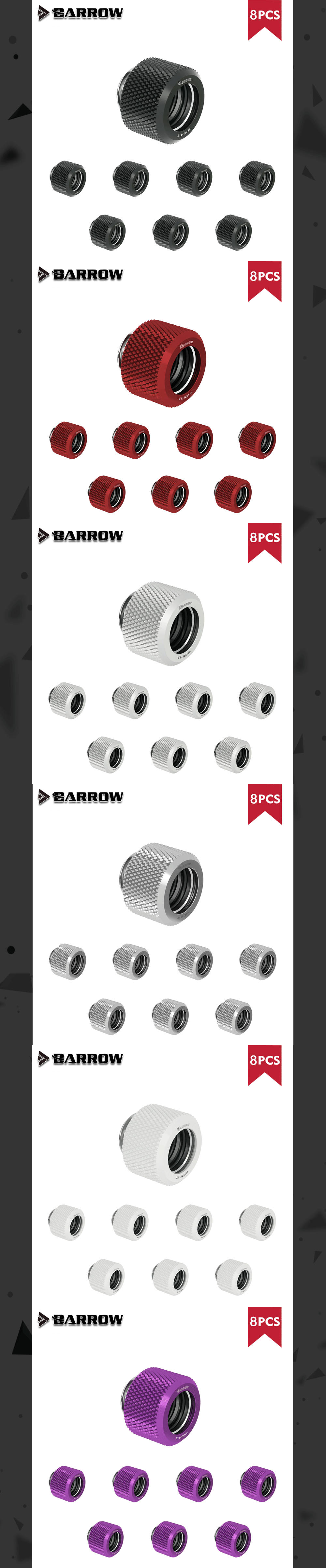 """Barrow Hard Tube Fitting G1/4"""" Choice Water Cooling Adapters Suitable Od12mm / Od14mm / Od16mm Computer Case , 8pcs/lot, TFYKN"""